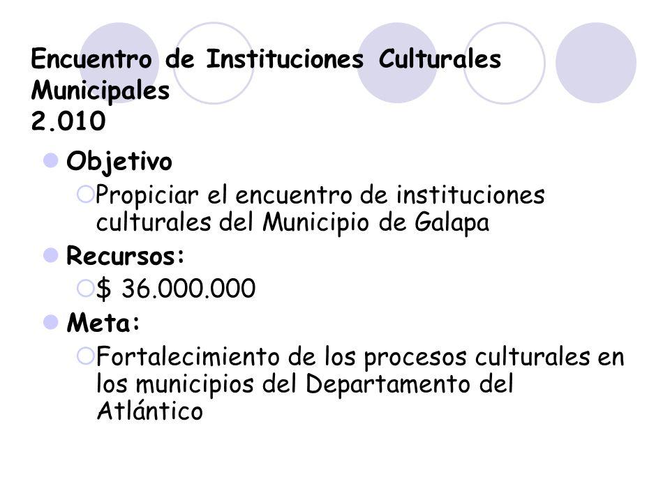 Encuentro de Instituciones Culturales Municipales 2.010 Objetivo Propiciar el encuentro de instituciones culturales del Municipio de Galapa Recursos: