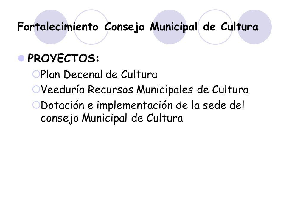 Fortalecimiento Consejo Municipal de Cultura PROYECTOS: Plan Decenal de Cultura Veeduría Recursos Municipales de Cultura Dotación e implementación de