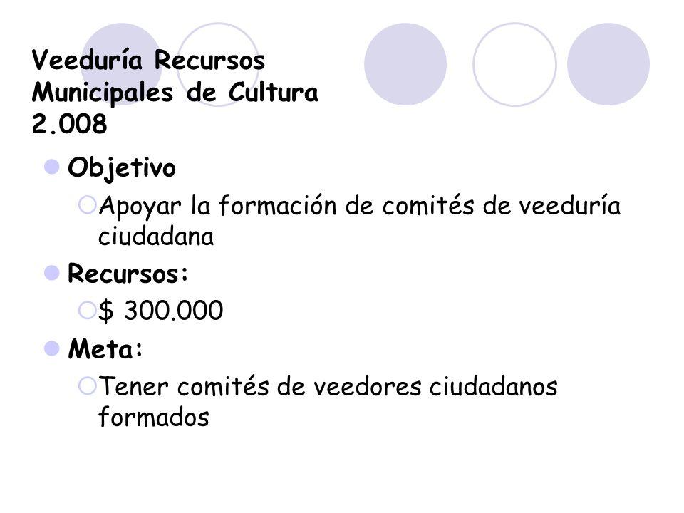 Veeduría Recursos Municipales de Cultura 2.008 Objetivo Apoyar la formación de comités de veeduría ciudadana Recursos: $ 300.000 Meta: Tener comités d