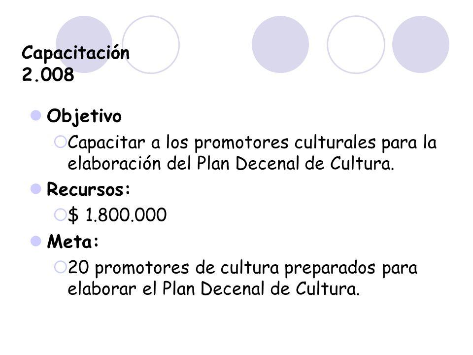 Capacitación 2.008 Objetivo Capacitar a los promotores culturales para la elaboración del Plan Decenal de Cultura. Recursos: $ 1.800.000 Meta: 20 prom