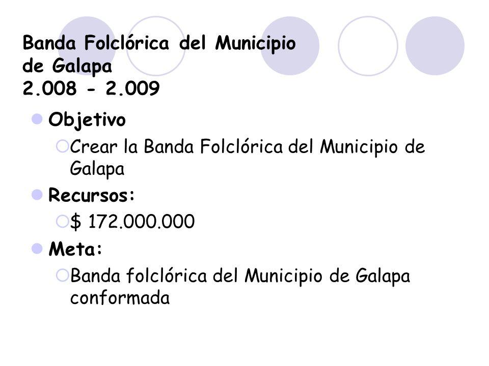 Banda Folclórica del Municipio de Galapa 2.008 - 2.009 Objetivo Crear la Banda Folclórica del Municipio de Galapa Recursos: $ 172.000.000 Meta: Banda