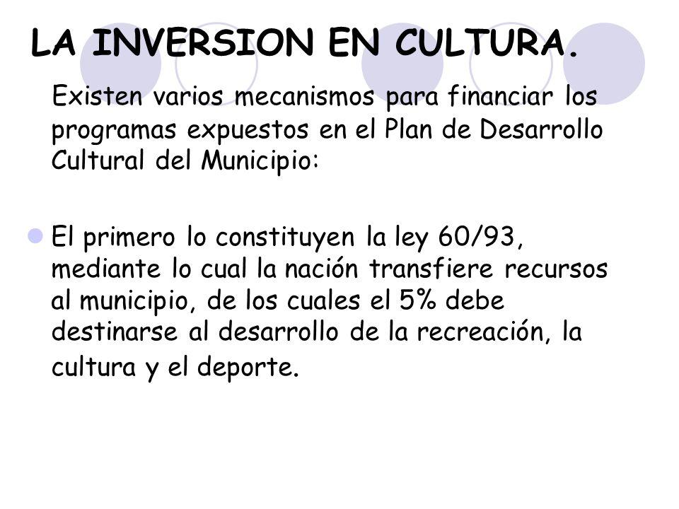 LA INVERSION EN CULTURA. Existen varios mecanismos para financiar los programas expuestos en el Plan de Desarrollo Cultural del Municipio: El primero