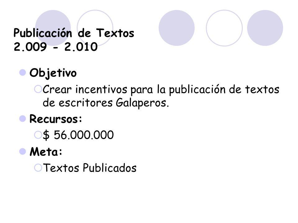 Publicación de Textos 2.009 - 2.010 Objetivo Crear incentivos para la publicación de textos de escritores Galaperos. Recursos: $ 56.000.000 Meta: Text