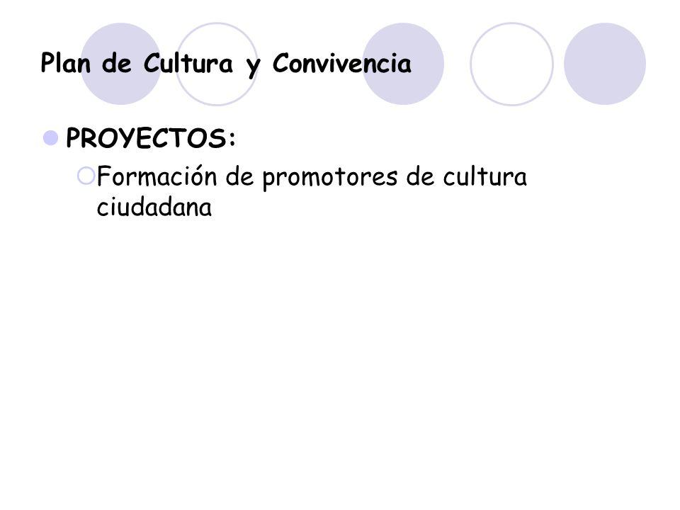 Plan de Cultura y Convivencia PROYECTOS: Formación de promotores de cultura ciudadana