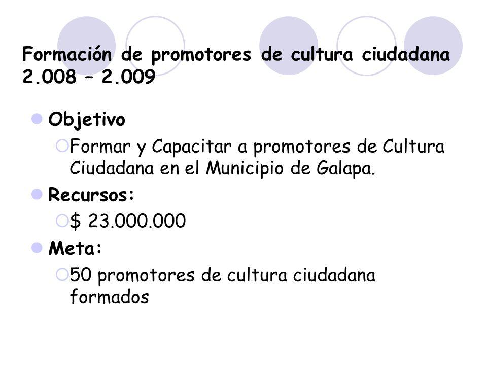 Formación de promotores de cultura ciudadana 2.008 – 2.009 Objetivo Formar y Capacitar a promotores de Cultura Ciudadana en el Municipio de Galapa. Re