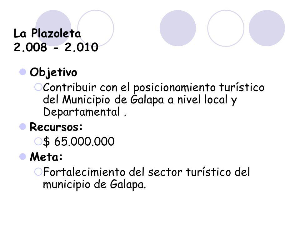 La Plazoleta 2.008 - 2.010 Objetivo Contribuir con el posicionamiento turístico del Municipio de Galapa a nivel local y Departamental. Recursos: $ 65.
