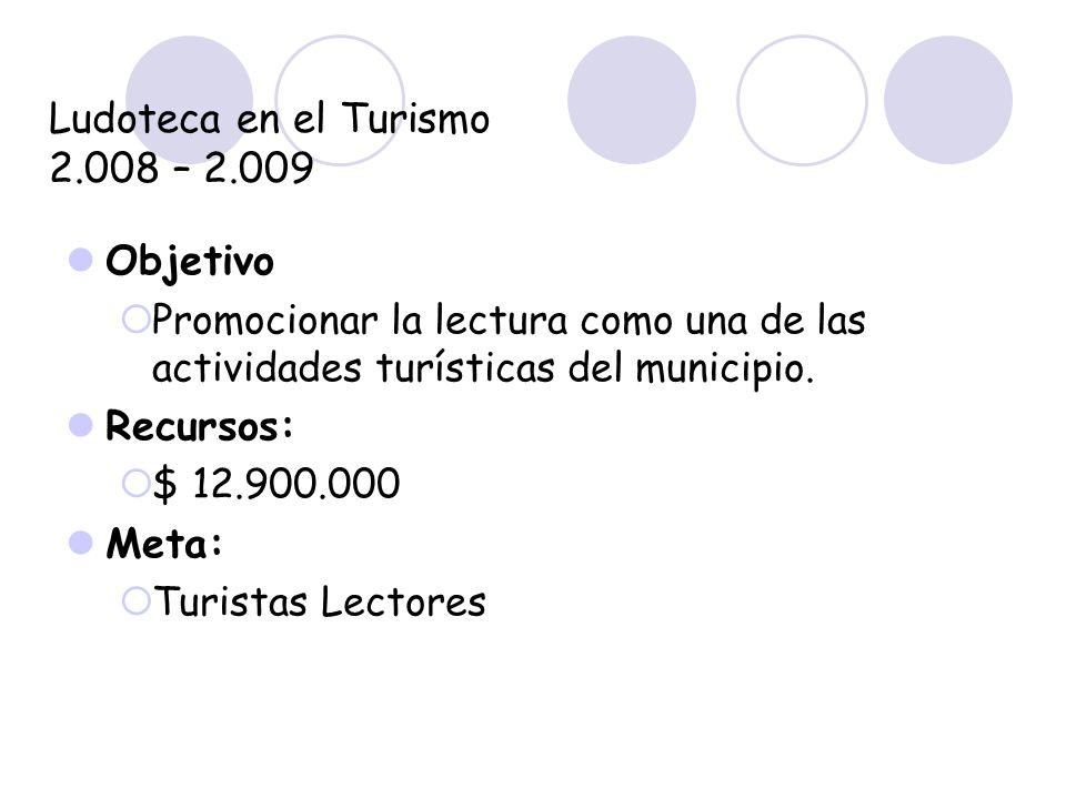 Ludoteca en el Turismo 2.008 – 2.009 Objetivo Promocionar la lectura como una de las actividades turísticas del municipio. Recursos: $ 12.900.000 Meta