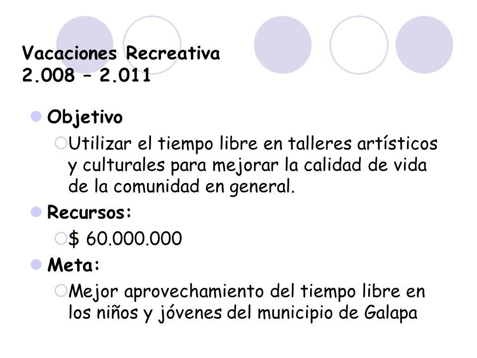 Vacaciones Recreativa 2.008 – 2.011 Objetivo Utilizar el tiempo libre en talleres artísticos y culturales para mejorar la calidad de vida de la comuni