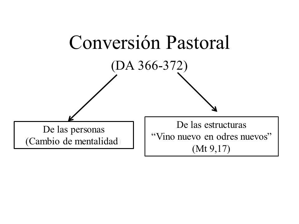 Conversión Pastoral (DA 366-372) De las personas (Cambio de mentalidad) De las estructuras Vino nuevo en odres nuevos (Mt 9,17)