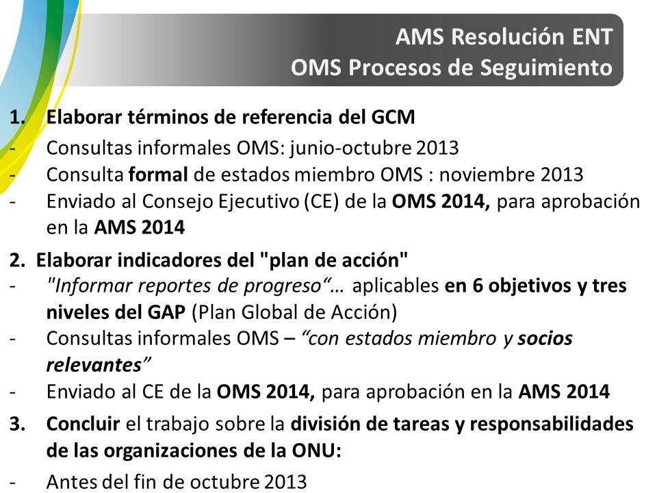 1.Elaborar términos de referencia del GCM -Consultas informales OMS: junio-octubre 2013 -Consulta formal de estados miembro OMS : noviembre 2013 -Enviado al Consejo Ejecutivo (CE) de la OMS 2014, para aprobación en la AMS 2014 2.