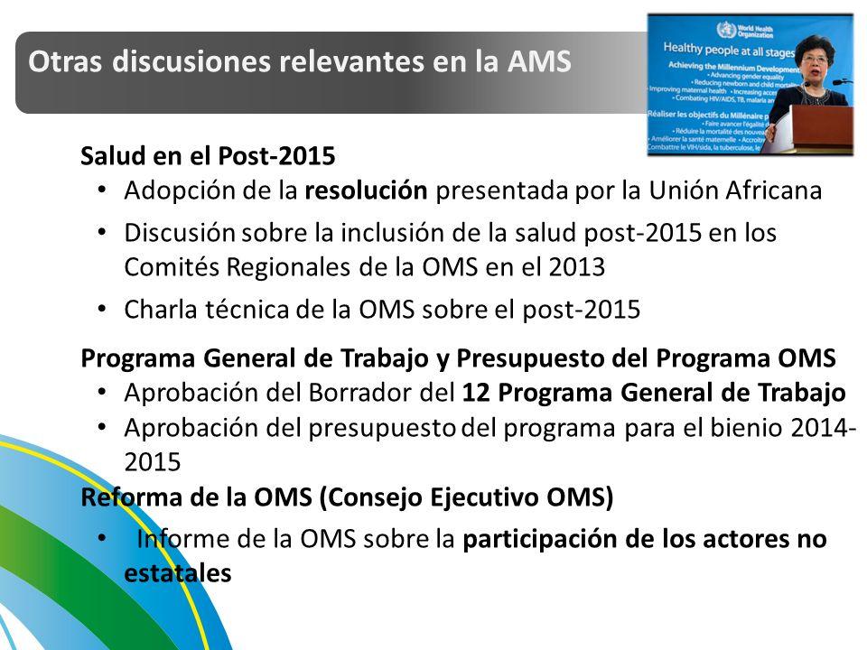 Salud en el Post-2015 Adopción de la resolución presentada por la Unión Africana Discusión sobre la inclusión de la salud post-2015 en los Comités Regionales de la OMS en el 2013 Charla técnica de la OMS sobre el post-2015 Programa General de Trabajo y Presupuesto del Programa OMS Aprobación del Borrador del 12 Programa General de Trabajo Aprobación del presupuesto del programa para el bienio 2014- 2015 Reforma de la OMS (Consejo Ejecutivo OMS) Informe de la OMS sobre la participación de los actores no estatales Otras discusiones relevantes en la AMS