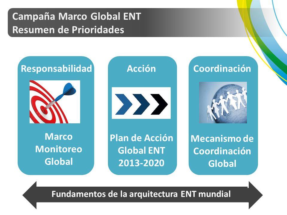 Campaña Marco Global ENT Resumen de Prioridades Marco Monitoreo Global Plan de Acción Global ENT 2013-2020 Mecanismo de Coordinación Global Fundamentos de la arquitectura ENT mundial Targets pic ResponsabilidadAcciónCoordinación