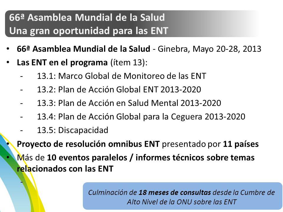 66ª Asamblea Mundial de la Salud Una gran oportunidad para las ENT 66ª Asamblea Mundial de la Salud - Ginebra, Mayo 20-28, 2013 Las ENT en el programa (ítem 13): -13.1: Marco Global de Monitoreo de las ENT -13.2: Plan de Acción Global ENT 2013-2020 -13.3: Plan de Acción en Salud Mental 2013-2020 -13.4: Plan de Acción Global para la Ceguera 2013-2020 -13.5: Discapacidad Proyecto de resolución omnibus ENT presentado por 11 países Más de 10 eventos paralelos / informes técnicos sobre temas relacionados con las ENT - Culminación de 18 meses de consultas desde la Cumbre de Alto Nivel de la ONU sobre las ENT