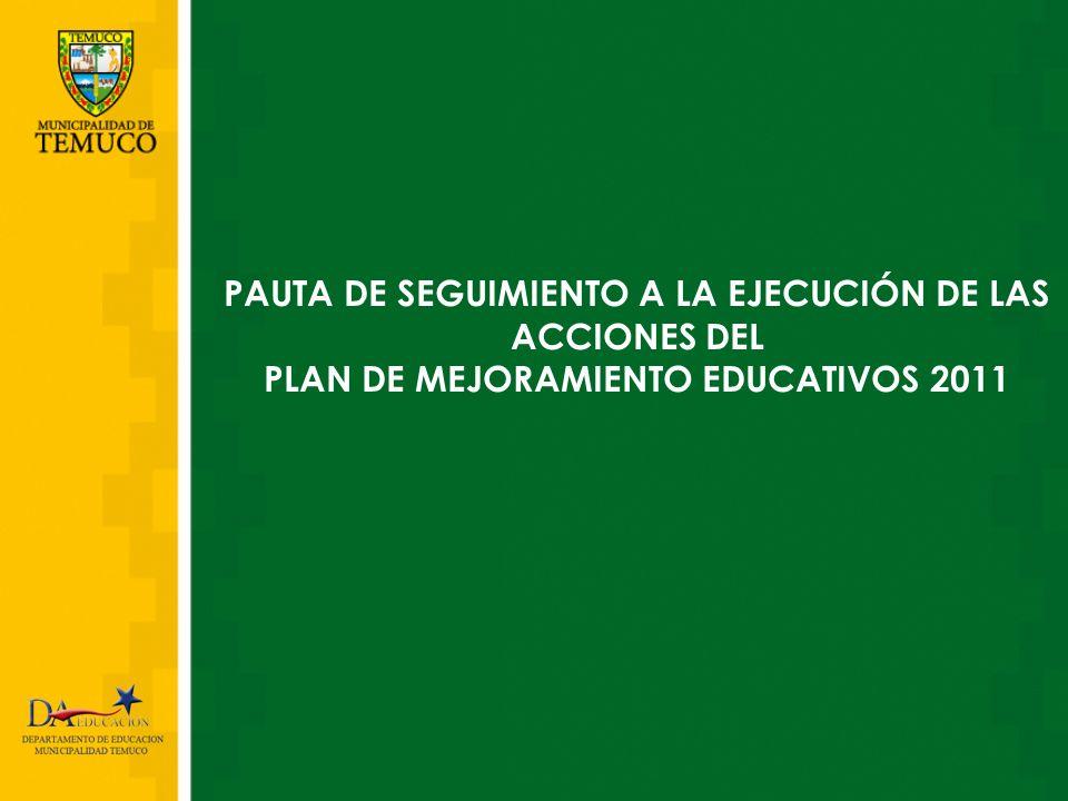 COMPONENTES DE LA PAUTA DE SEGUIMIENTO A LA EJECUCIÓN DE ACCIONES DEL PLAN DE MEJORAMIENTO EDUCATIVO 2011 I.Antecedentes del Establecimiento.