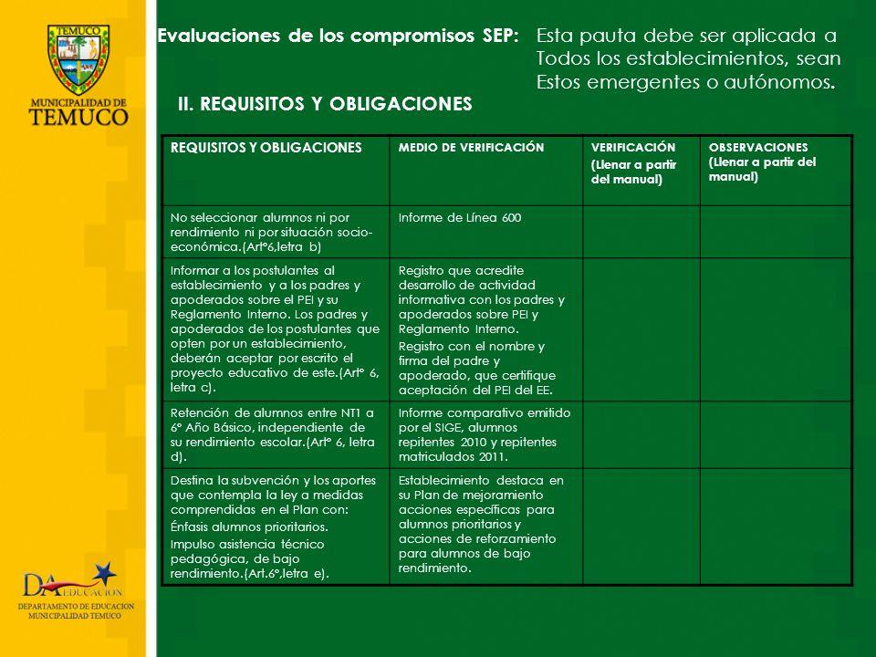 Evaluaciones de los compromisos SEP: Esta pauta debe ser aplicada a Todos los establecimientos, sean Estos emergentes o autónomos. II. REQUISITOS Y OB