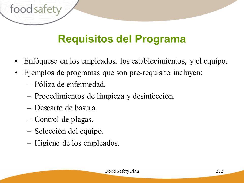 Food Safety Plan232 Requisitos del Programa Enfóquese en los empleados, los establecimientos, y el equipo. Ejemplos de programas que son pre-requisito
