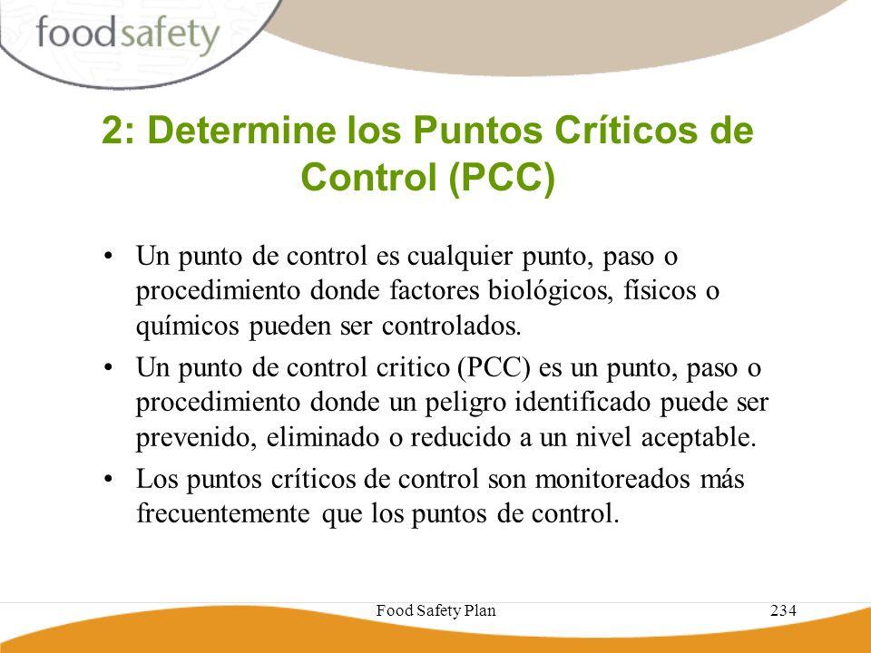 Food Safety Plan234 2: Determine los Puntos Críticos de Control (PCC) Un punto de control es cualquier punto, paso o procedimiento donde factores biol