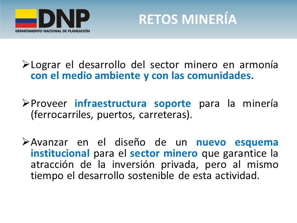 Lograr el desarrollo del sector minero en armonía con el medio ambiente y con las comunidades. Proveer infraestructura soporte para la minería (ferroc