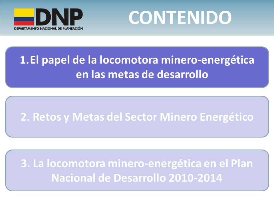 1.El papel de la locomotora minero-energética en las metas de desarrollo CONTENIDO 3. La locomotora minero-energética en el Plan Nacional de Desarroll