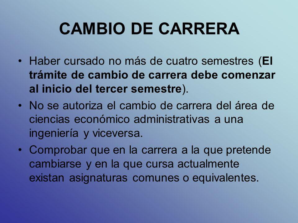 CAMBIO DE CARRERA Haber cursado no más de cuatro semestres (El trámite de cambio de carrera debe comenzar al inicio del tercer semestre).