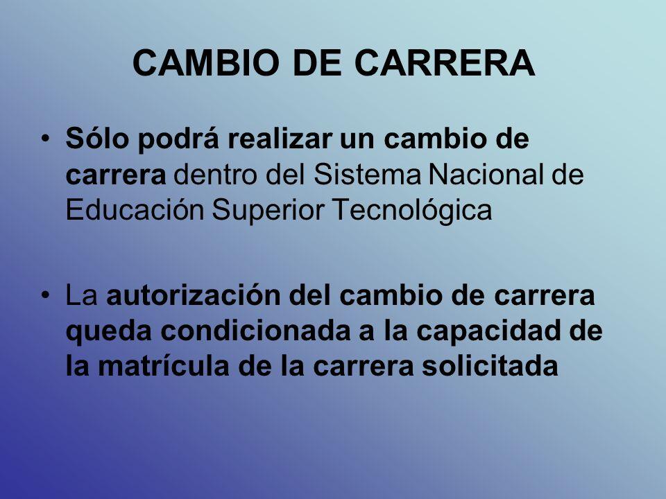 CAMBIO DE CARRERA Sólo podrá realizar un cambio de carrera dentro del Sistema Nacional de Educación Superior Tecnológica La autorización del cambio de carrera queda condicionada a la capacidad de la matrícula de la carrera solicitada