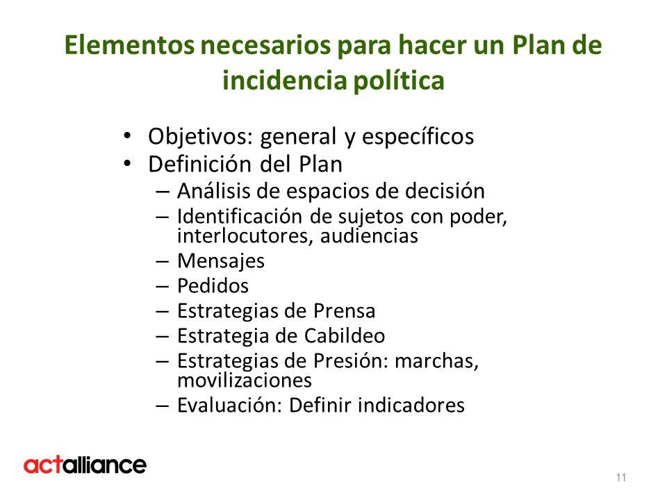 Elementos necesarios para hacer un Plan de incidencia política Objetivos: general y específicos Definición del Plan – Análisis de espacios de decisión