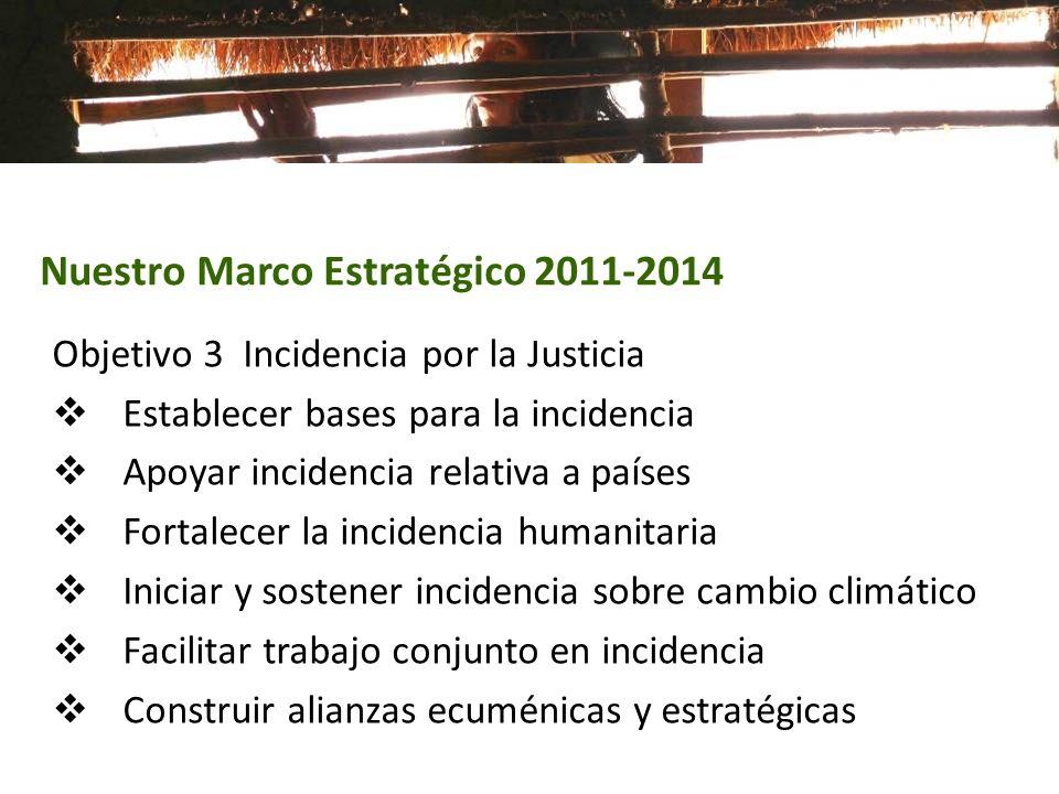 Objetivo 3 Incidencia por la Justicia Establecer bases para la incidencia Apoyar incidencia relativa a países Fortalecer la incidencia humanitaria Ini