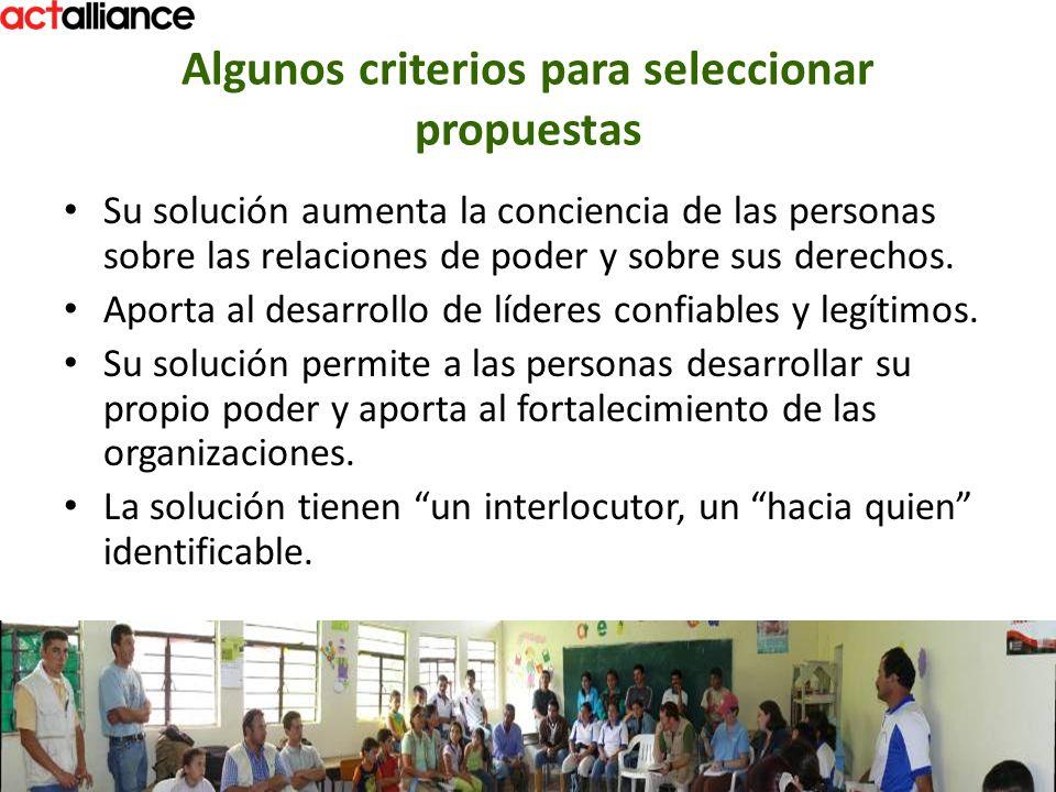 Algunos criterios para seleccionar propuestas Su solución aumenta la conciencia de las personas sobre las relaciones de poder y sobre sus derechos. Ap
