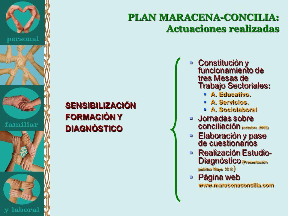 PLAN MARACENA-CONCILIA: Actuaciones realizadas SENSIBILIZACIÓN FORMACIÓN Y DIAGNÓSTICO Constitución y funcionamiento de tres Mesas de Trabajo Sectoriales : Constitución y funcionamiento de tres Mesas de Trabajo Sectoriales : A.
