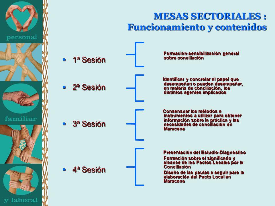 MESAS SECTORIALES : Funcionamiento y contenidos 1ª Sesión 1ª Sesión 2ª Sesión 2ª Sesión 3ª Sesión 3ª Sesión 4ª Sesión 4ª Sesión Formación-sensibilización general sobre conciliación Formación-sensibilización general sobre conciliación Identificar y concretar el papel que desempeñan o pueden desempañar, en materia de conciliación, los distintos agentes implicados Identificar y concretar el papel que desempeñan o pueden desempañar, en materia de conciliación, los distintos agentes implicados Consensuar los métodos e instrumentos a utilizar para obtener información sobre la práctica y las necesidades de conciliación en Maracena.