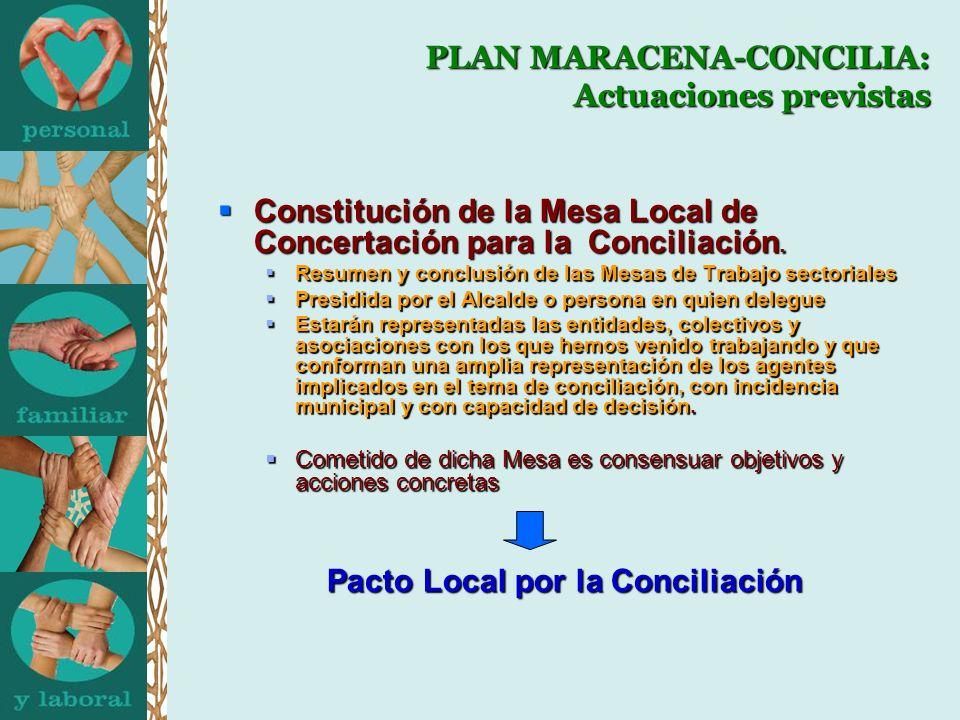 PLAN MARACENA-CONCILIA: Actuaciones previstas Constitución de la Mesa Local de Concertación para la Conciliación. Constitución de la Mesa Local de Con