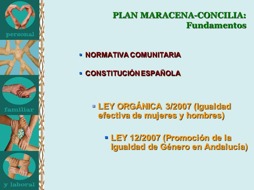 NORMATIVA COMUNITARIA NORMATIVA COMUNITARIA CONSTITUCIÓN ESPAÑOLA CONSTITUCIÓN ESPAÑOLA LEY ORGÁNICA 3/2007 (Igualdad efectiva de mujeres y hombres) L