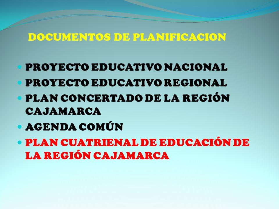 DOCUMENTOS DE PLANIFICACION PROYECTO EDUCATIVO NACIONAL PROYECTO EDUCATIVO REGIONAL PLAN CONCERTADO DE LA REGIÓN CAJAMARCA AGENDA COMÚN PLAN CUATRIENAL DE EDUCACIÓN DE LA REGIÓN CAJAMARCA