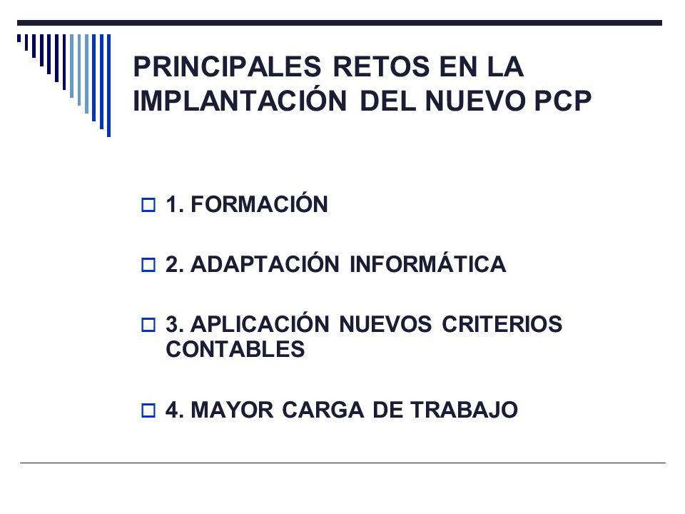 PRINCIPALES RETOS EN LA IMPLANTACIÓN DEL NUEVO PCP 1. FORMACIÓN 2. ADAPTACIÓN INFORMÁTICA 3. APLICACIÓN NUEVOS CRITERIOS CONTABLES 4. MAYOR CARGA DE T