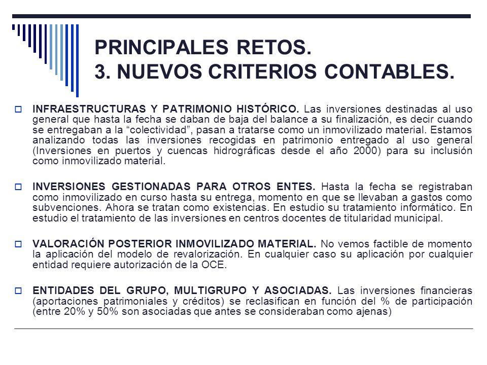 PRINCIPALES RETOS. 3. NUEVOS CRITERIOS CONTABLES. INFRAESTRUCTURAS Y PATRIMONIO HISTÓRICO. Las inversiones destinadas al uso general que hasta la fech