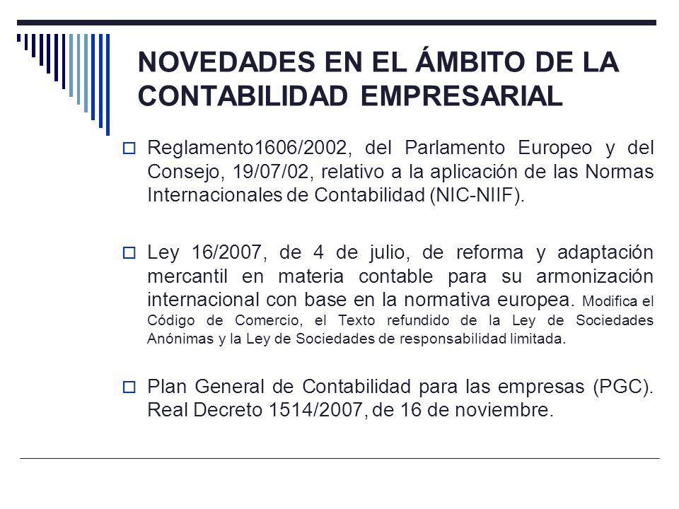 NOVEDADES EN EL ÁMBITO DE LA CONTABILIDAD EMPRESARIAL Reglamento1606/2002, del Parlamento Europeo y del Consejo, 19/07/02, relativo a la aplicación de