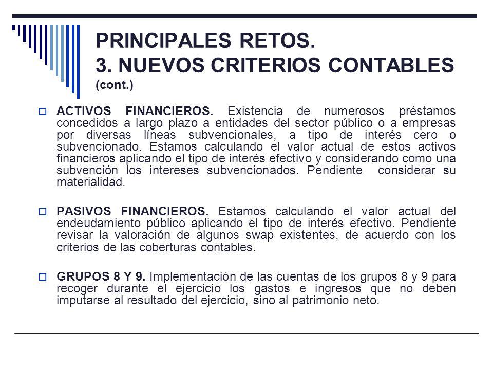 PRINCIPALES RETOS. 3. NUEVOS CRITERIOS CONTABLES (cont.) ACTIVOS FINANCIEROS. Existencia de numerosos préstamos concedidos a largo plazo a entidades d