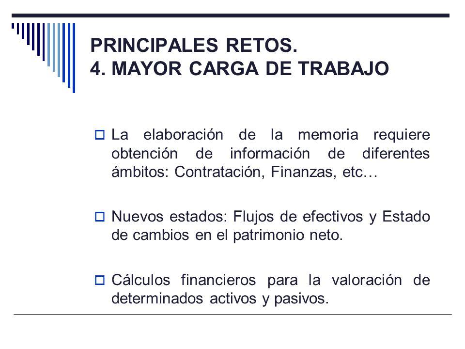 PRINCIPALES RETOS. 4. MAYOR CARGA DE TRABAJO La elaboración de la memoria requiere obtención de información de diferentes ámbitos: Contratación, Finan
