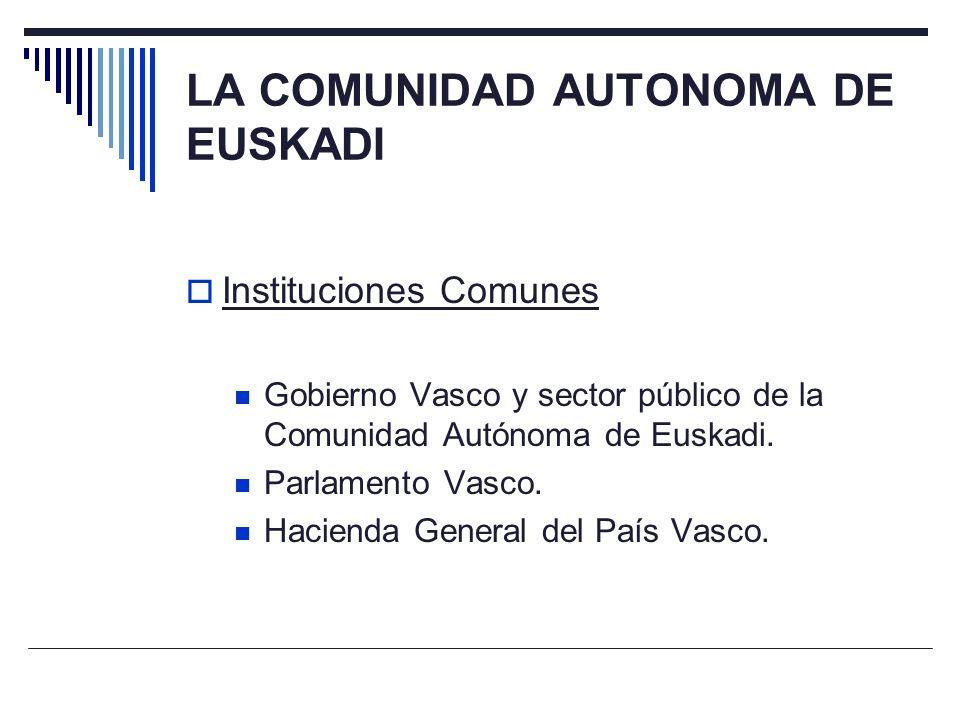 LA COMUNIDAD AUTONOMA DE EUSKADI Instituciones Comunes Gobierno Vasco y sector público de la Comunidad Autónoma de Euskadi. Parlamento Vasco. Hacienda