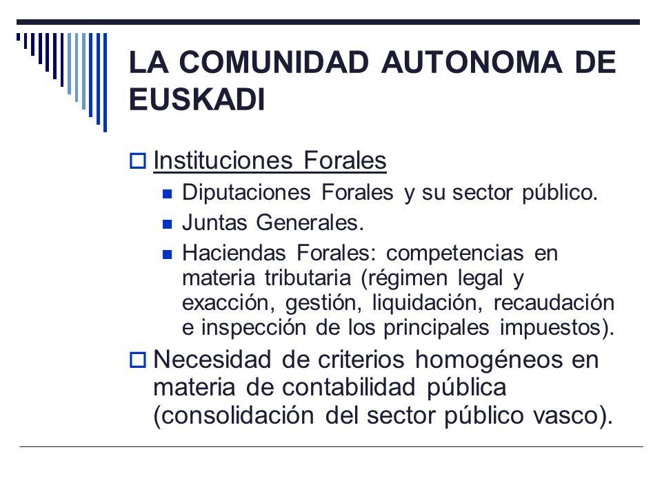 LA COMUNIDAD AUTONOMA DE EUSKADI Instituciones Forales Diputaciones Forales y su sector público. Juntas Generales. Haciendas Forales: competencias en