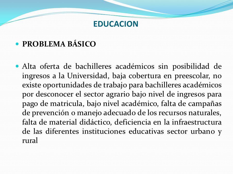 EDUCACION PROBLEMA BÁSICO Alta oferta de bachilleres académicos sin posibilidad de ingresos a la Universidad, baja cobertura en preescolar, no existe