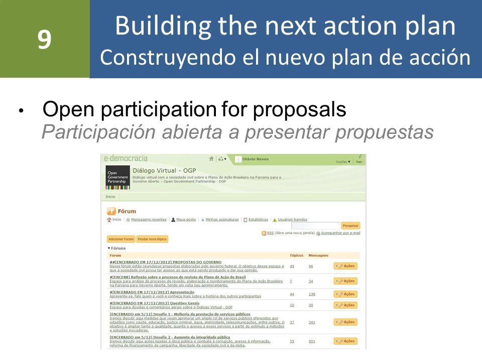 Building the next action plan Construyendo el nuevo plan de acción Let society prioritize: 15 proposals Dejar la sociedad priorizar: 15 propuestas In-person debate: +15 proposals Debate presencial: +15 propuestas 10