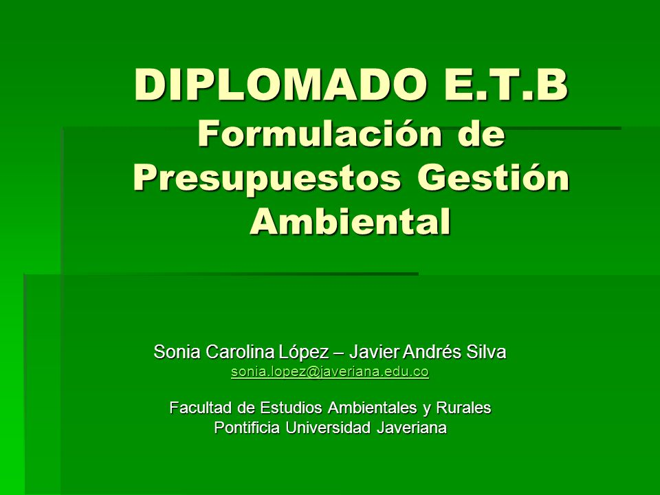 DIPLOMADO E.T.B Formulación de Presupuestos Gestión Ambiental Sonia Carolina López – Javier Andrés Silva sonia.lopez@javeriana.edu.co Facultad de Estu