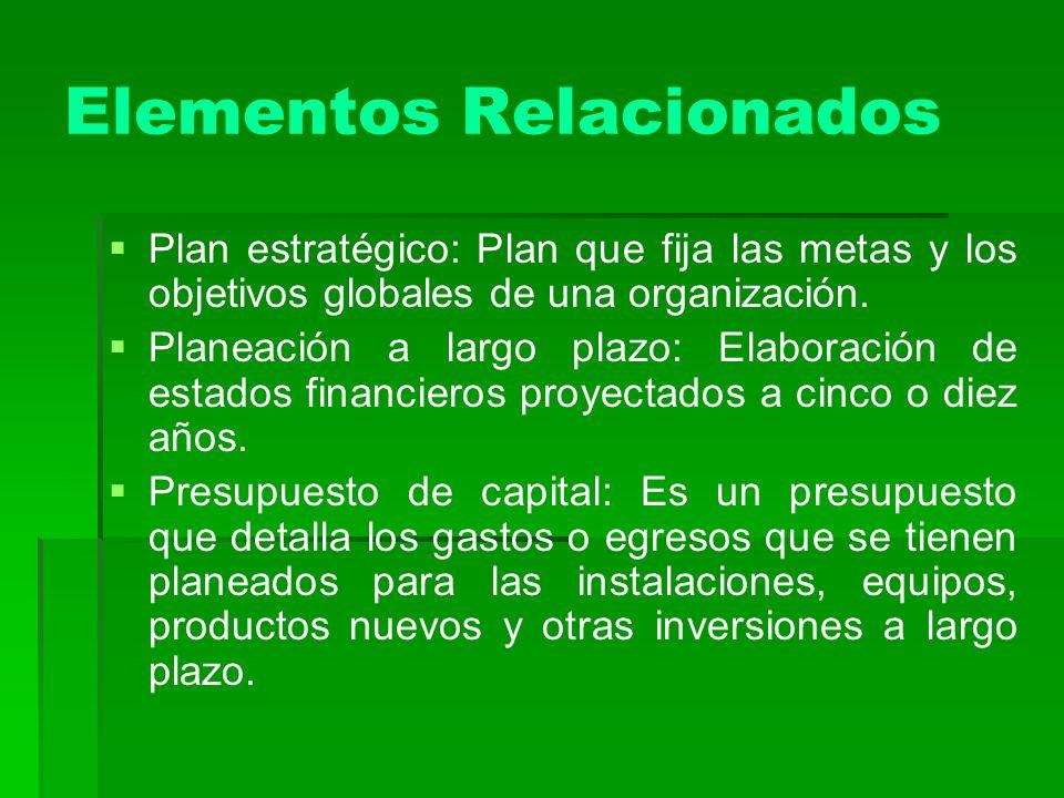 Elementos Relacionados Plan estratégico: Plan que fija las metas y los objetivos globales de una organización. Planeación a largo plazo: Elaboración d