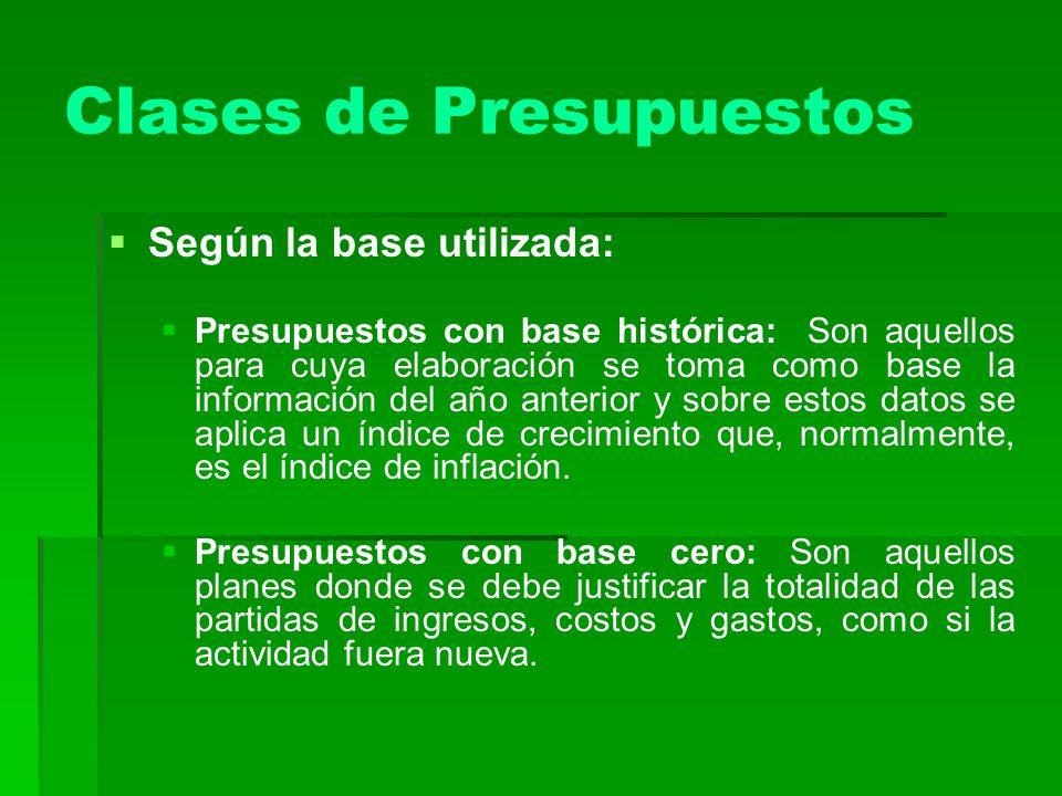 Clases de Presupuestos Según la base utilizada: Presupuestos con base histórica: Son aquellos para cuya elaboración se toma como base la información d
