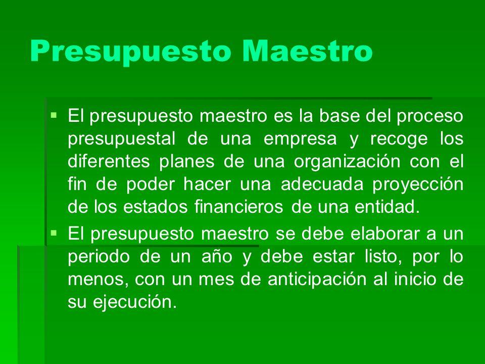 Presupuesto Maestro El presupuesto maestro es la base del proceso presupuestal de una empresa y recoge los diferentes planes de una organización con e