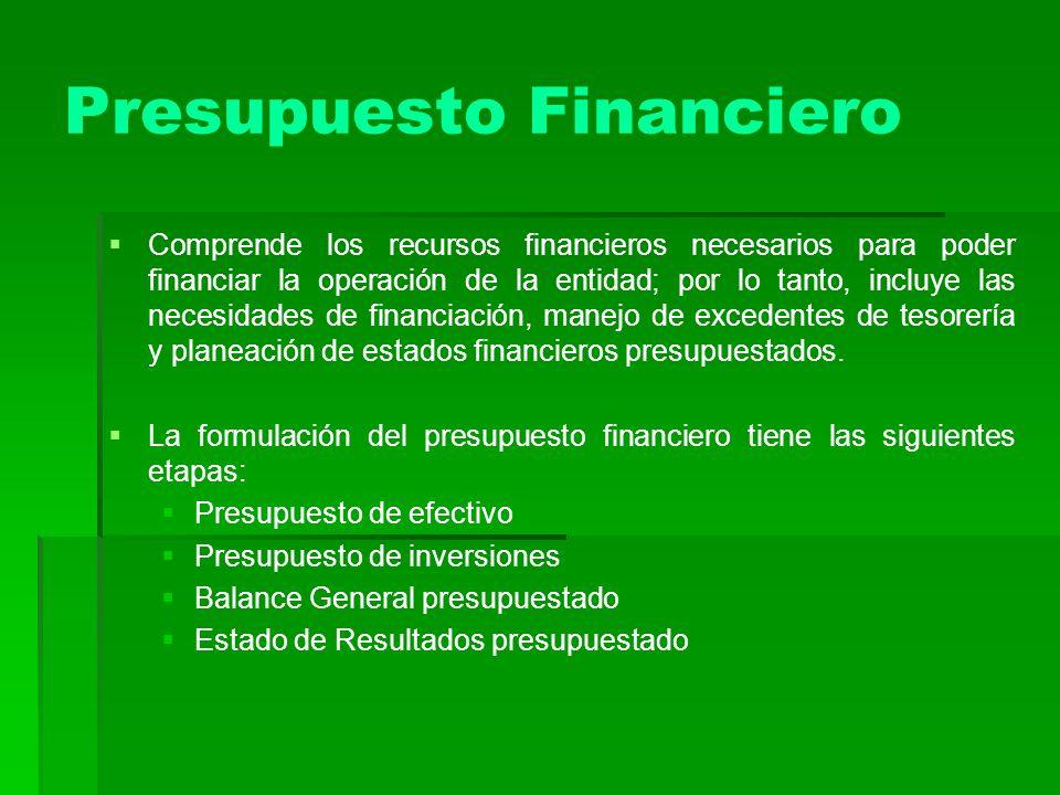Presupuesto Financiero Comprende los recursos financieros necesarios para poder financiar la operación de la entidad; por lo tanto, incluye las necesi