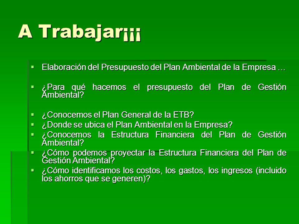 A Trabajar¡¡¡ Elaboración del Presupuesto del Plan Ambiental de la Empresa … Elaboración del Presupuesto del Plan Ambiental de la Empresa … ¿Para qué