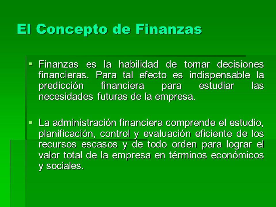El Concepto de Finanzas Finanzas es la habilidad de tomar decisiones financieras. Para tal efecto es indispensable la predicción financiera para estud