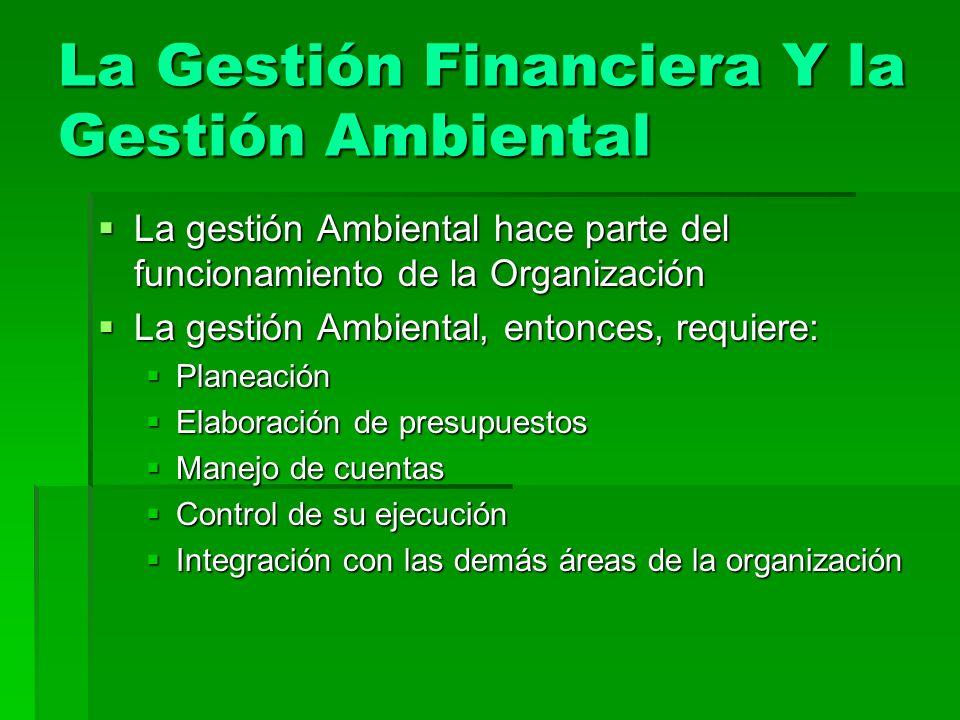 La Gestión Financiera Y la Gestión Ambiental La gestión Ambiental hace parte del funcionamiento de la Organización La gestión Ambiental hace parte del